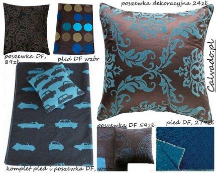 Tkaniny i dekoracje w kolorach brązu i turkusu