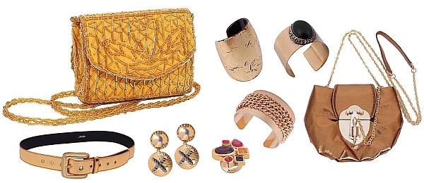 Biżuteria i torebki w kolorze złotym
