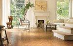 Salon, podłoga korkowa