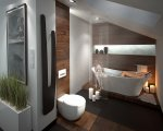 Projekt łazienki, z wykorzystaniem podłogi drewnianej
