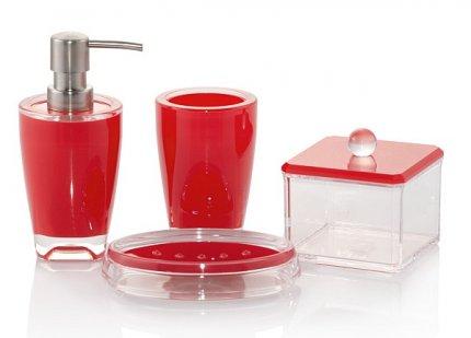 Akcesoria łazienkowe Basic w kolorze czerwonym