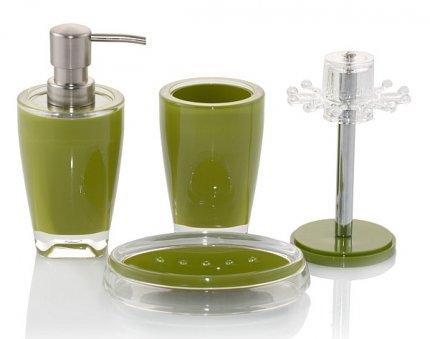 Akcesoria łazienkowe Basic w kolorze zielonym