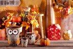Jesienne dekoracje, naczynia sowy