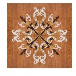 Intarsja na tafli parkietowej 60x60cm z drewna jatoba tło, wenge, iroko i jesion jasny