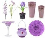 Dekoracje do salonu w kolorze fioletowym